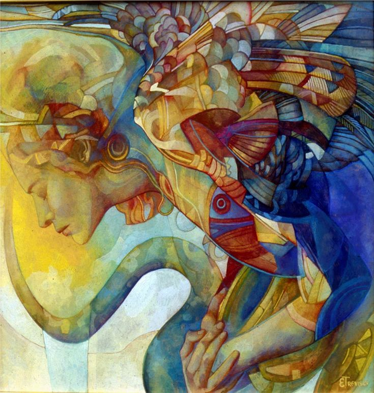 """""""Raymbow Harpy"""", painting by Elisabetta Trevisan. See more of her artwork at Art Galaxie:"""