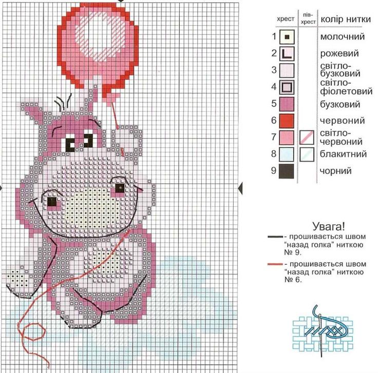 Cross-stitch Happy Hippo
