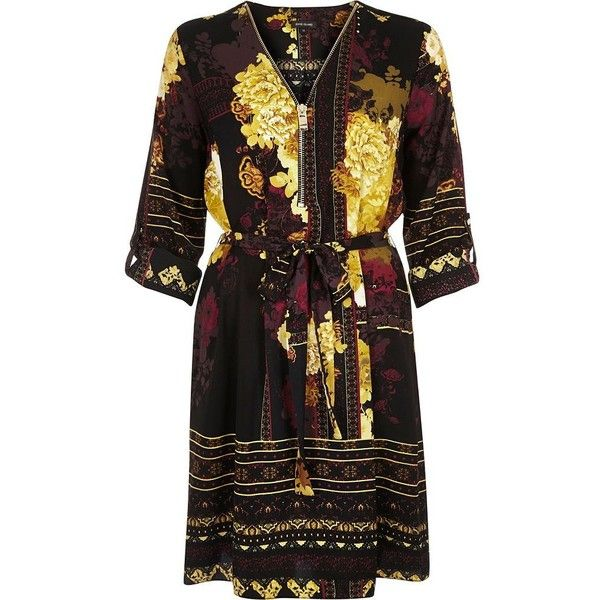 River Island Yellow printed zip front shirt dress (705 HRK) ❤ liked on Polyvore featuring dresses, shirt dresses, women, yellow, shirt-dress, yellow floral dress, v neck dress, yellow dress and floral print dress