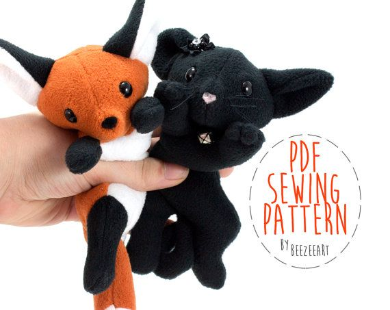 Fox and Cat Stuffed Animal Sewing Pattern Plush Toy by BeeZeeArt