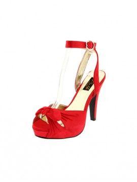 PLEASER - ESCARPINS ROUGE NEW RETRO - BETTIE-04 - #chaussures #escarpin #boutouvert #peeptoe #bride #Talonhaut #HautTalon #vernis #PleaserUSA #Paris #foxyladyparis