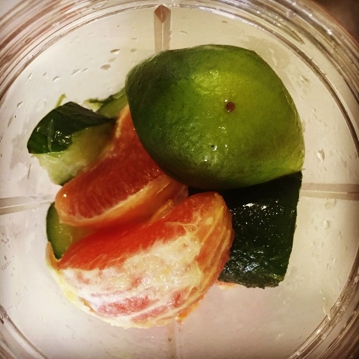 1 #sunkist #caraorange;  1/2 #cucumber; #limejuice from one big lime; #nutriblitzer