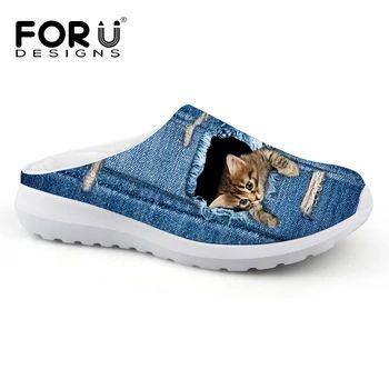 Women's Denim Platform Sandals w/ Cat/Dog Print