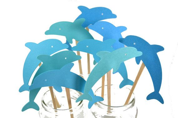 Dolphin Cupcake toppersDolphin InvitationDolphin by sunshowerstuff, $6.50