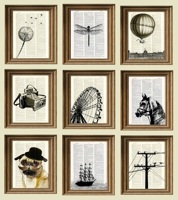 How to print black & white graphic designs on old book pages. Frame & hang.