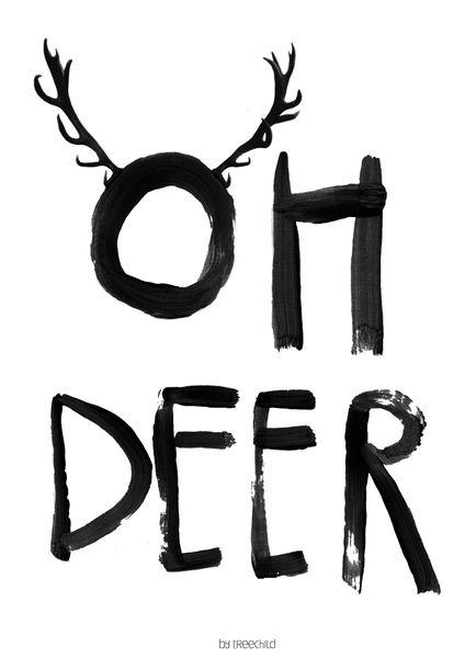 """Illustrationen - Print """"Oh Deer"""" DIN A 4 - ein Designerstück von TreeChild bei DaWanda"""