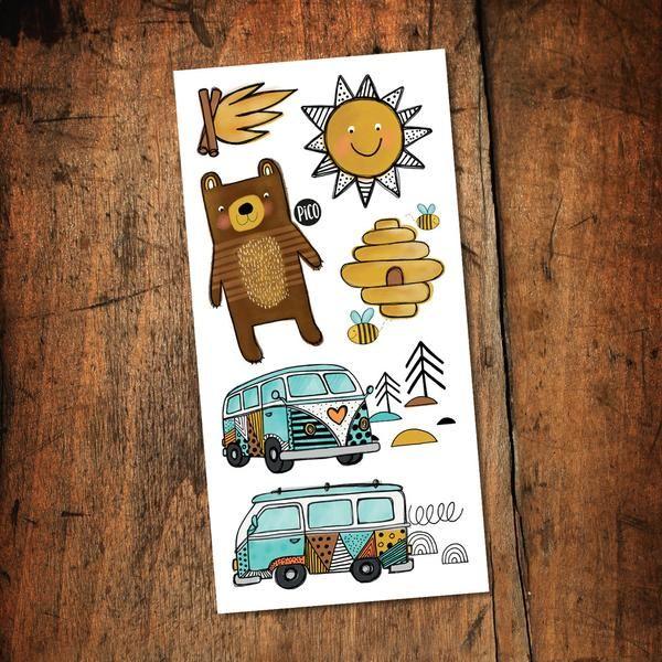 temporary tattoos kumbaya camping car bear bees sun volkwagen tatouages temporaires feu de camp ours soleil minivan