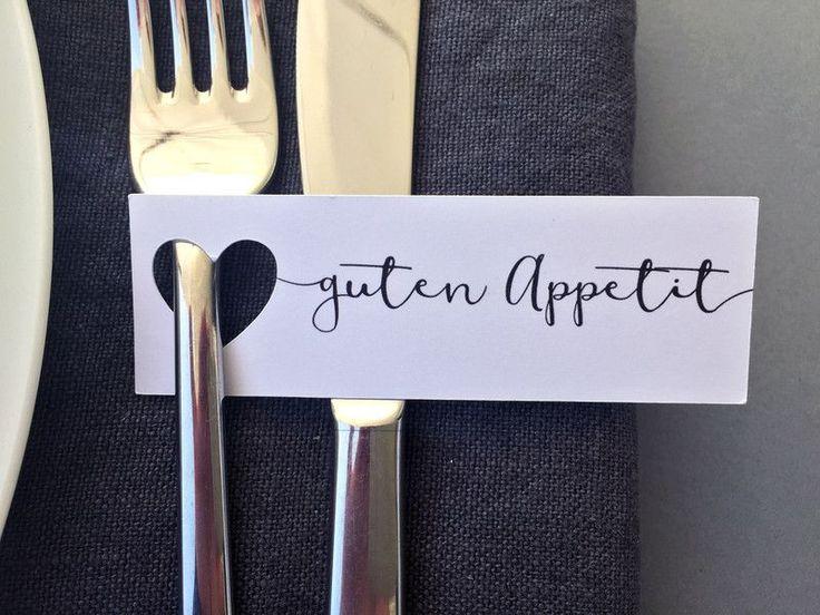 """Hochzeitsdeko – 20 """"Guten Appetit""""-Anhänger mit ausgestanztem Herz – ein Design…"""