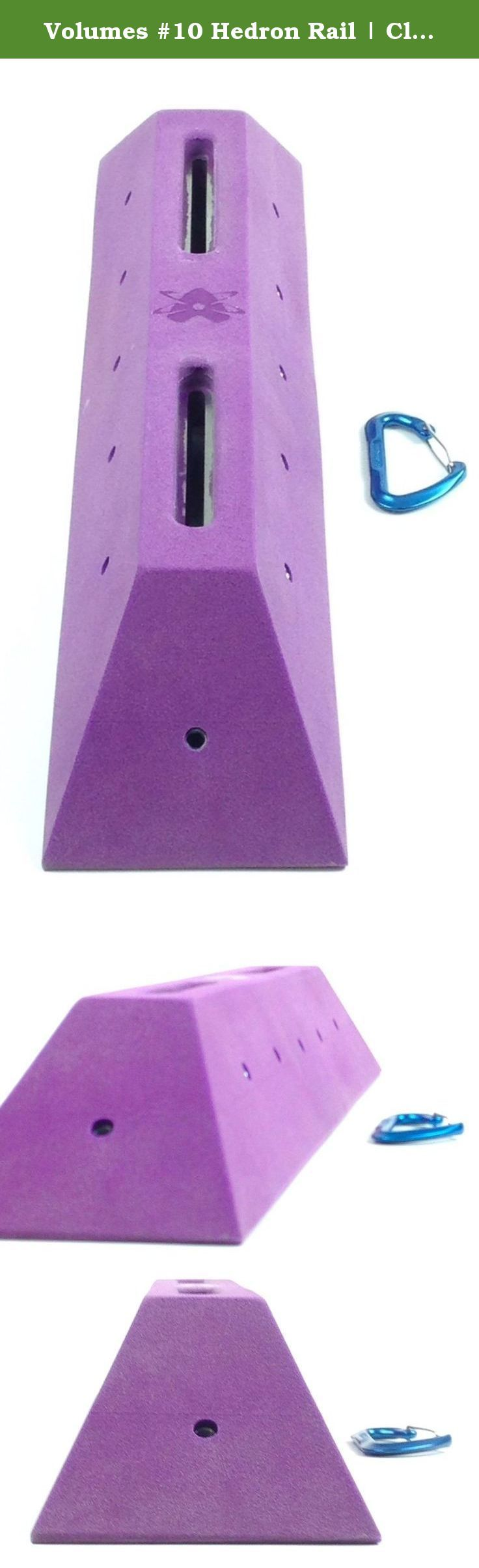 "Volumes #10 Hedron Rail | Climbing Holds | Bright Purple. Volume #10 Base Dimensions : 28"" long x 6"" wide base. 2 1/4"" on the top plate where the logo is. Stands out from the wall: 5"" T-nuts installed: 12 round base brad hole t-nuts. Attachment method : Two 3/8-16 Allan head bolts via our embedded stainless steel double slider washers."