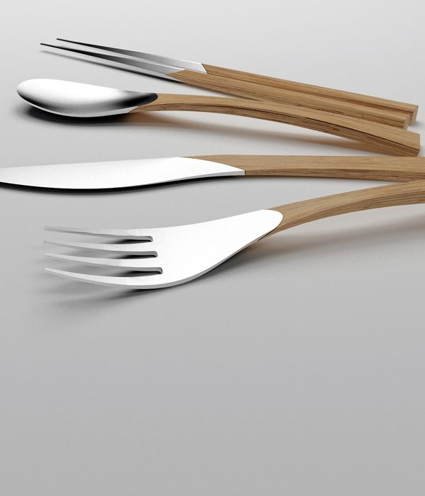 Natural is a beautiful cutlery set,that combines the elegance of silver with the warm appearance of wood.  Created by the spanish design team clara del portillo + alejandro selma.