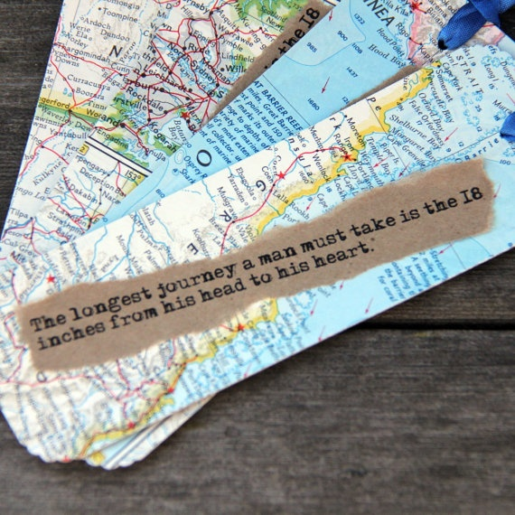 """Fabulous! Map Bookmark quote- Using a vintage map, a quote and a salvaged paper bag, Quote reads """"The longest journey a man must take is the eighteen inches from his head to his heart"""" Each bookmark measures approx 6"""" x 2"""" (15cm x 5cm)."""