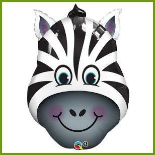Zany Zebra Super Mylar Balloon, $6.19 Cdn each http://www.allthatstuff.net/SafariAdventure/safari-adventure-party-supplies.html
