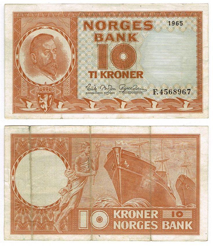 Norway 10 Kroner 1965 P31d VF | World Paper Money