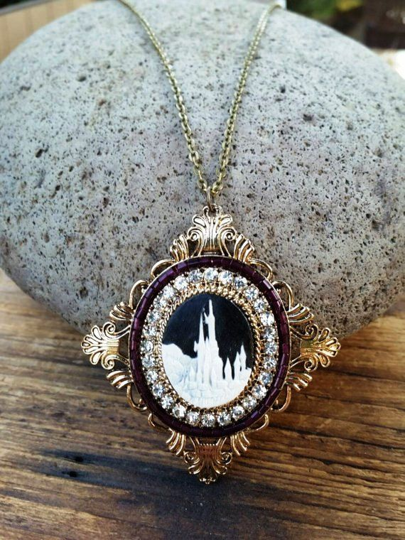 Castle Cameo Necklace / Choker, Medieval Castle Necklace, Cosplay, LARP, Enchanted Castle, Disneybound Necklace, Statement Necklace, Bronze