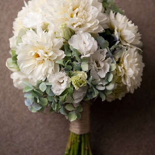 Bouquet of hydrangea,lisianthus and dahlias