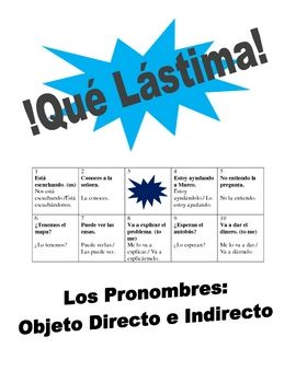 Spanish  Speaking Activity: Direct and Indirect Object Pronouns