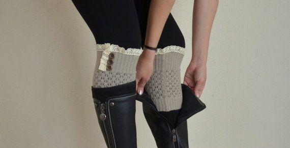 PLUS SIZE Gray knit lace boot cuffs-Boho boot socks-Lace cuffs-Women's socks-Short leg warmers-Knit boot socks-Knit socks