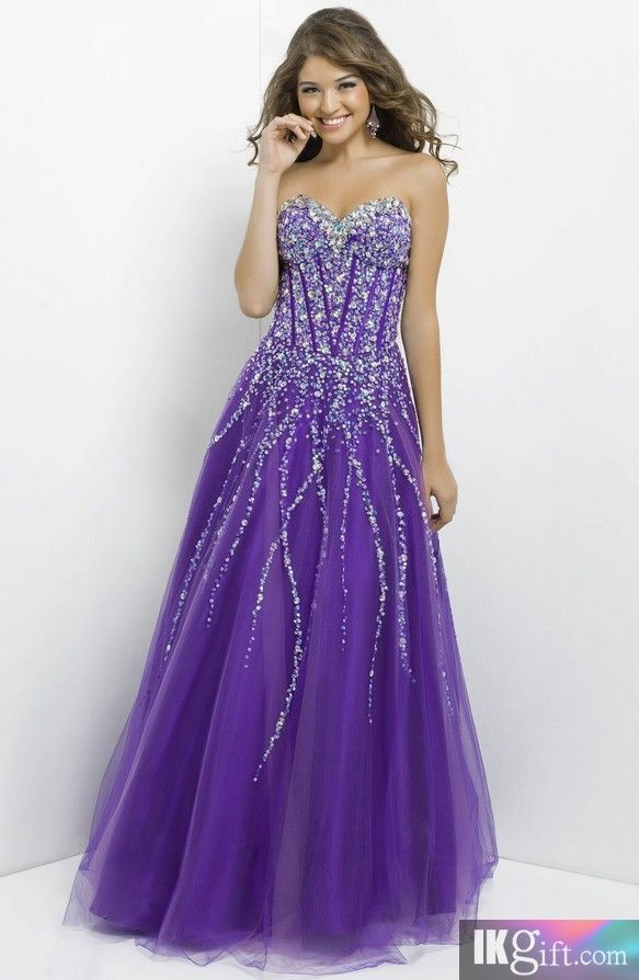 Ball Gown Sweetheart Tulle with Beading Purple Prom Dress - Prom Dresses -  Wedding & Events