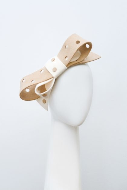Polka Dot Bow   Label: Suzy O'Rourke   Autumn/Winter 2012, Gilt Collection   Hand punched double bow headpiece in rabbit fur felt