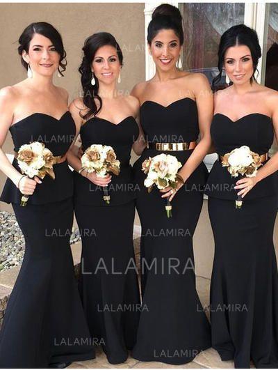 0c82dc7cc1 Trumpet Mermaid Sweetheart Sweep Train Satin Bridesmaid Dresses With  Cascading Ruffles (007145184)