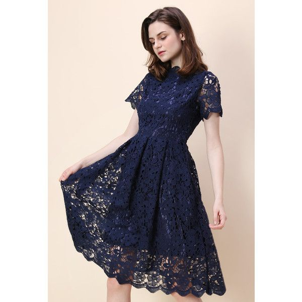 Chicwish Floral Holiday Crochet Dress in Navy (7405 DZD) ❤ liked on Polyvore featuring dresses, navy blue evening dress, cocktail dresses, navy cocktail dress, special occasion dresses and navy evening dress