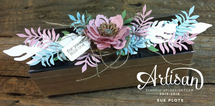 Gift Box featuring Botanical Builders Framelits Dies from Stampin' Up! ~ by Sue Plote