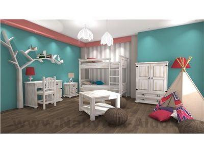 Dětský pokoj z masivu pro dvě děti Bianco-díly