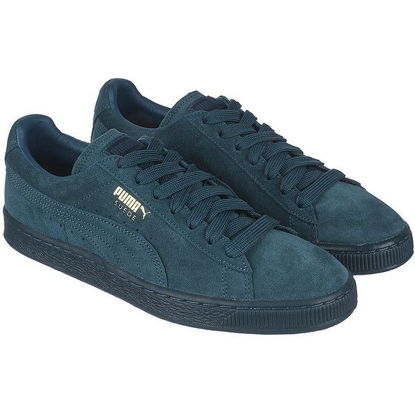 Puma The Suede Classic + Mono ICE Sneaker in Blue ($60) ❤ liked on Polyvore featuring shoes, sneakers, navy blue, puma shoes, lacing sneakers, lace up shoes, navy suede shoes and suede lace up shoes