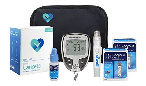Bayer Contour NEXT Diabetes Testing Kit - Bayer Contour EZ Meter, 100 Contour NEXT Blood Glucose Test Strips, 100 OWell Lancets 30g, Lancing Device, Control Solution, Manual, Log Book & Carry Case