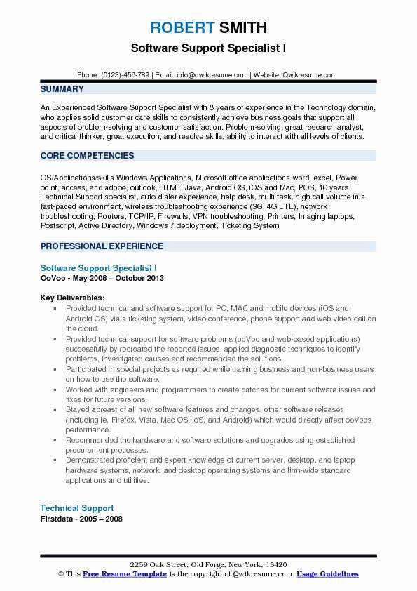 Customer Support Specialist Resume Inspirational Software Support Specialist Resume Samples