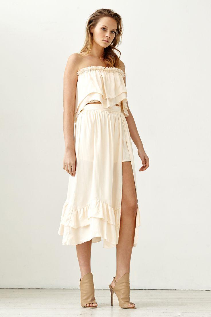Steele - Harper Midi Skirt - Pale Gold
