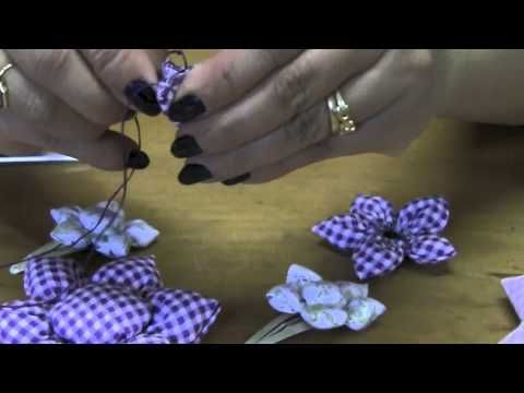 Flor de fuxico com enchimento Passo a Passo - HOW TO MAKE ROLLED RIBBON ROSES- fabric flowers - YouTube