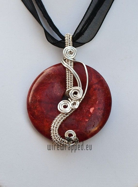 Coral donut wire wrapped pendant