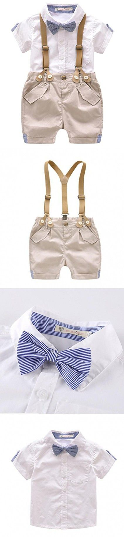 Baby Boys Cotton Gentleman Bowtie Short Sleeve Shirt Overalls Shorts Outfits Set size 9-12 Months (White)