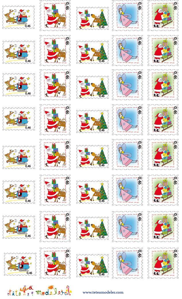 Planches de timbres à imprimer pour enfants - Noel Tete a modeler