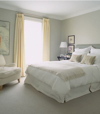 I adore this bedroom's style and soothing colors