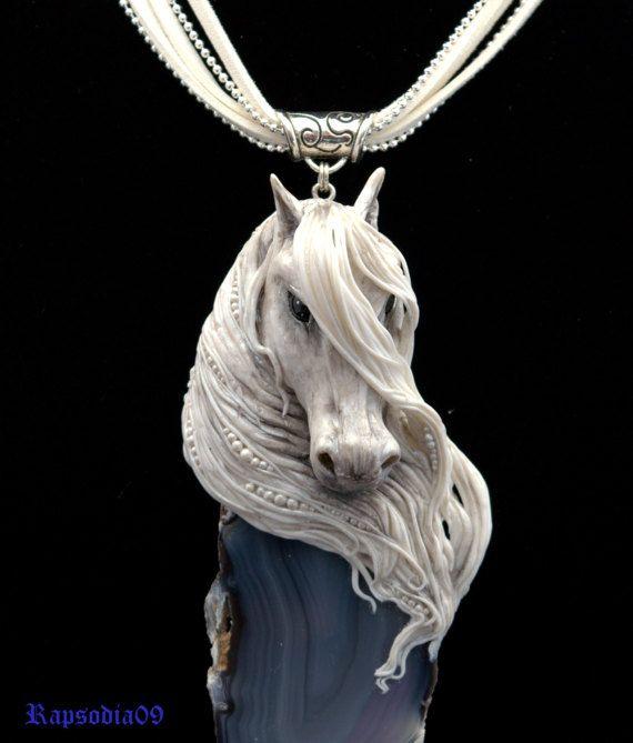 Jewelry pendant Pendant horse Polymer clay by Rapsodia09ArtWork