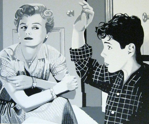 june and wally cleaver painting. barbara by waltyablonsky on Etsy.