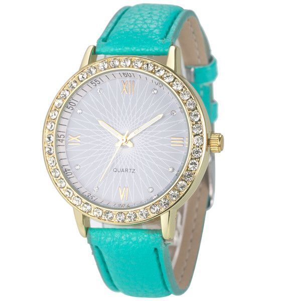Attractive Colorful Fashion Women Diamond Analog Leather Quartz Wrist Watch Watches SP25