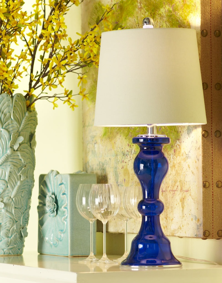 Pier 1 Cobalt Glass Lamp brings bold color...(these are priced at $50 each? Niiiiiice)