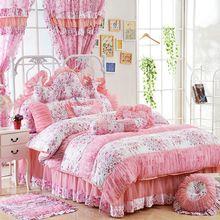 Princesa cachecol de algodão bedskirt conjunto de cama roupa de cama colcha, 4 pcs jogo de cama, Capa de edredão / full, Queen size king / queen size(China (Mainland))