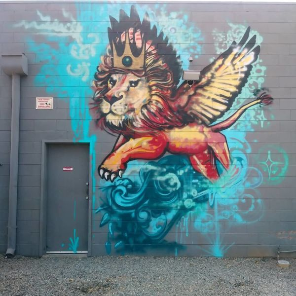Lion Mural By Love Ponci At Del Paso Heights Sacramento Lion Mural Mural Colorful Murals