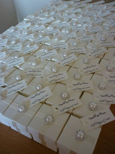 Custom Elegant Pearl and Diamante Ivory or White Wedding Favour (Favor) Box | eBay
