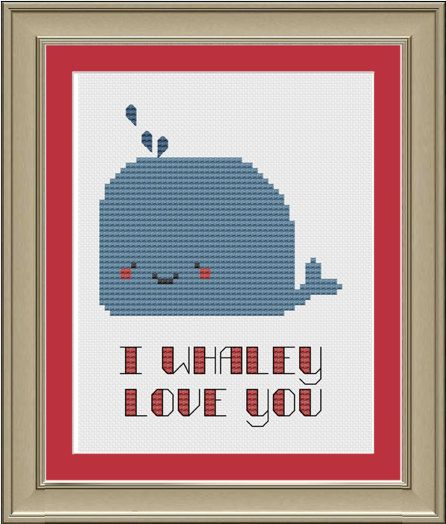I whaley love you cute whale crossstitch von nerdylittlestitcher, $3.00