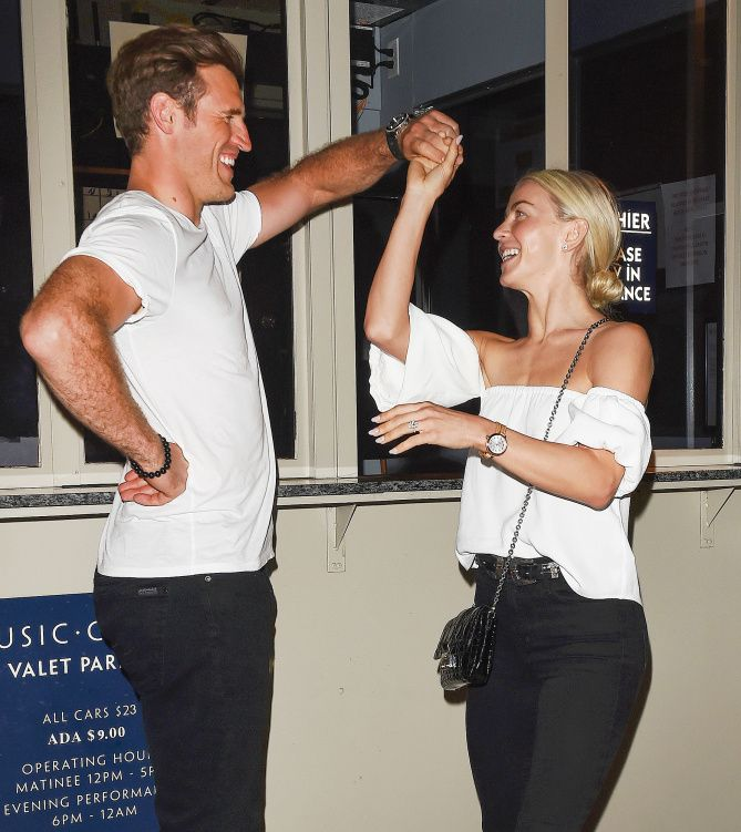 SHALL WE DANCE? Julianne Hough and fiancé Brooks Laich dance the night away after catching Dancing with the Stars' Mark Ballas performance in Jersey Boys in L.A. Star Tracks: Wednesday, June 21, 2017