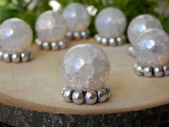 Fairy Garden Gazing Ball iridescent crackle glass ONE