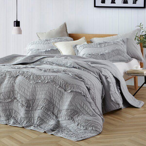 Pelham Relaxing Chevron Ruffles Quilt Set Ruffle Quilt Quilt Sets Bedding Sets
