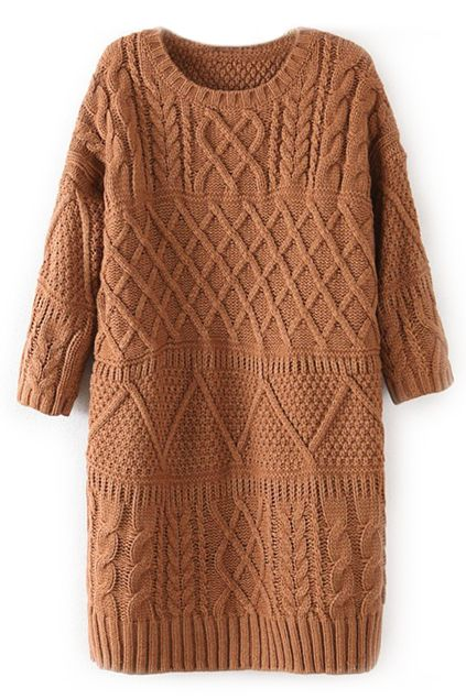 Yellow Half Sleeve Ribbed Knitted Long Sweater - Sheinside.com