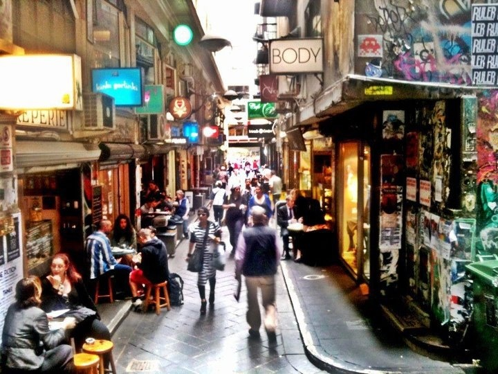 Degraves Lane, Melbourne City.  Lots of little bars, cafes and restaurants attract the cool kids and trend setters.  The most vibrant laneway in the city.