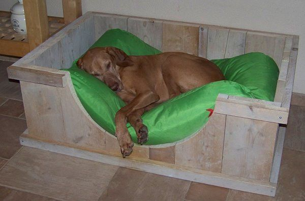 Wood / Pallet dog basket / bed...hubby might not like cutting circular opening.